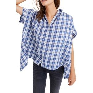 Madewell Central Open Back Plaid Button Down Top
